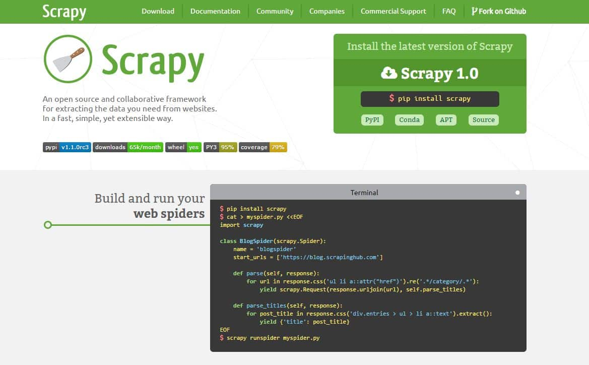 web scraping con scrapy