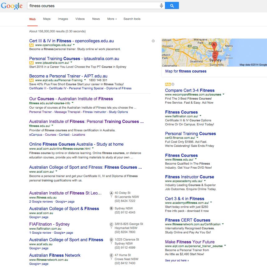 Resultados de búsqueda de Google en 2014