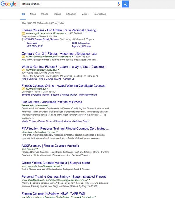 Resultados de búsqueda de Google en 2017