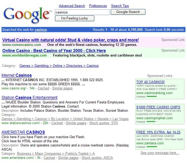 Resultados de Google en 2001